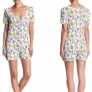 BH PJs snap front romper with elephant print